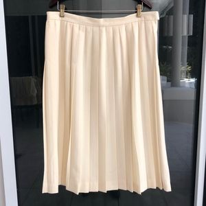 Pleated Wool Boucle Skirt sz20 Lined Cream Talbots